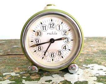Vintage alarm clock green 'Ruhla'