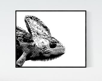 Chameleon printable artwork, digital print, chameleon closeup black and white 8x10 printable, lizard print, instant download