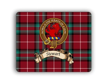 Steward Scottish Clan Bute Tartan Crest Computer Mouse Pad