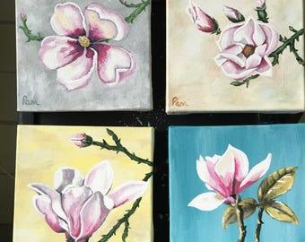 Magnolia blooms, acrylic art. Floral art. Botanical art. Magnolia art. Original art, canvas art