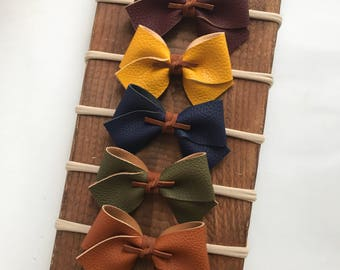 Fall AutumnFaux Leather Classic Bows