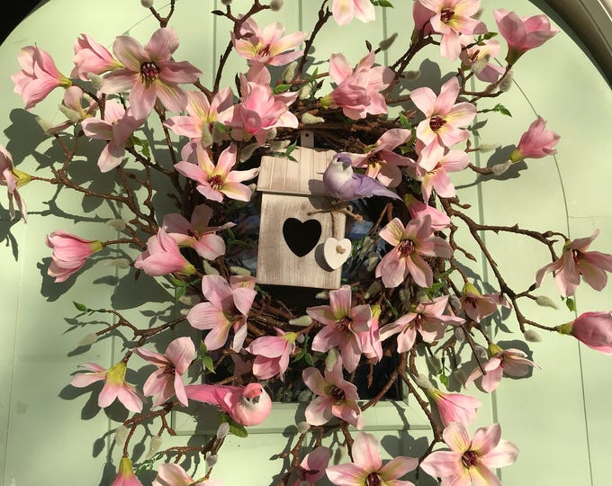 Magnolia spring wreath with optional birdhouse and birds!