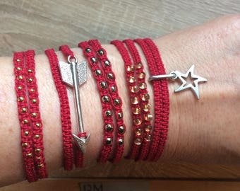Macrame double bracelet red in 5 variations, double macrame bracelets in red in 5 variations