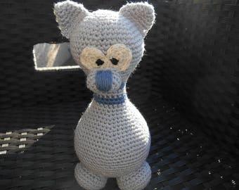 Teddy bear amigurumi grey and blue cat