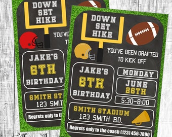 Birthday Invitation, Football Invitation, Football Party Invitation, Football Birthday Invitation, Touchdown Invitation