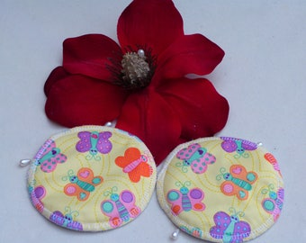 Reusable Multi - Coloured Butterfly Print Breast Pads. Breathable, Light, Non-slip, Heavy Absorbency Nursing Pads. *Ship Worldwide*.