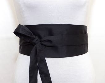 WILD RAW SILK - Reversible Obi Belt, Wide wrap belt, Waist belt - Black Shantung Sash Corset Cincher