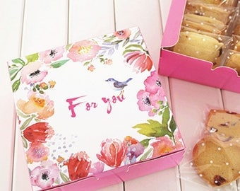 10pcs pink bird srping design Cheese Cake Paper Box Cookie Container gift Packaging  12*12*4.5cm