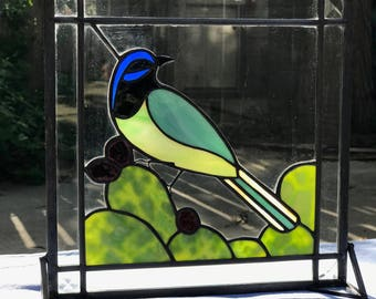 Green Jay Stained Glass Panel