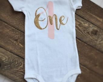 First Birthday onesie, baby girl birthday onesie, one onesie, glitter onesie