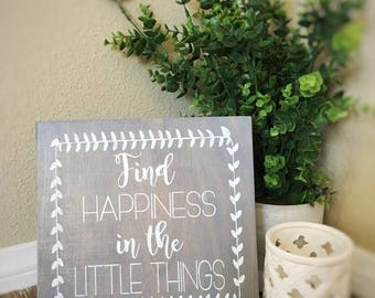 Hapiness sign, rustic wood sign, gray sign,