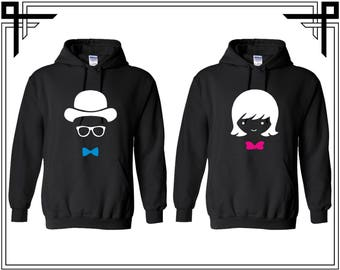 Mr Mrs Cartoon Head Couple Hoodie Hooded Sweatshirt Party Valentines Day & Anniversary Gift For Couples Gift For Him And Her Mr Mrs