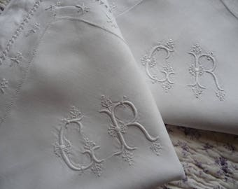 RESERVED SOLD RESERVED  Pair of French linen Pillow shams antique  French linen pillowcase  hand embroidered linen white linen pillow sham