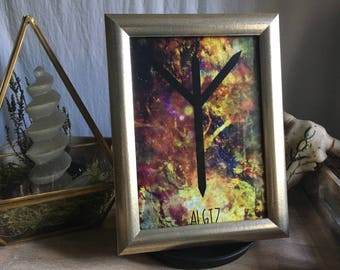 Runes [energy] Algiz 13 x 18 / runes / Futhark / witch / Wiccan / pagan / Nordic / spiritual