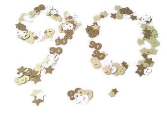 90th birthday party table confetti sprinkles-yellow gold stars,CUSTOM COLOURS,party ideas,ninety,ninetieth birthday, 30 40 50 60 70 80 100