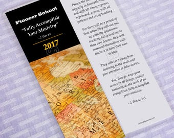Pioneer school 2018,Fully Accomplish Your Ministry Map,JW Bookmarks,jw.org Pioneer bookmark,2 Timothy 4:5,pioneer gifts,jw precursores gifts
