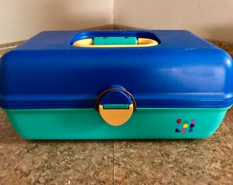 Vintage 1990's Caboodles Makeup Organizer Case Blue Teal Yellow Very Clean and Good Shape