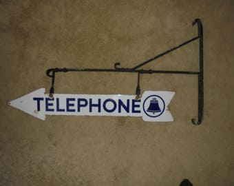 Vintage Double Sided Bell Telephone Porcelain Arrow Sign with original mounting bracket