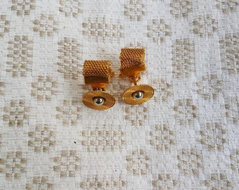 Vintage gold metal plated cufflinks with silver ball in center. Classy, fancy men accessories. Great as gift for someone special.