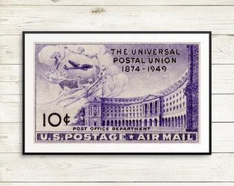 universal postal union poster, us mail wall art, union universal art print, universal union, postal union, us air mail, universal stamp