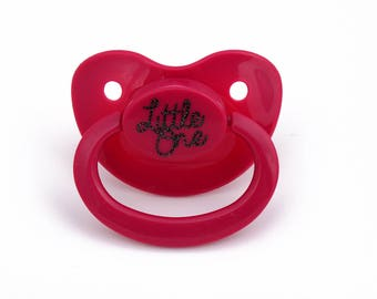 Little one custom adult pacifier in hot pink - nuk 6 equivalent. Ddlg dummy