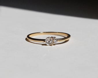 Rose Cut Diamond Engagement Rings, affortable Engagement Rings, 14k solid gold Ring, Stackable Rings, dainty rings, minimal rings