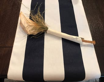 Navy And White Striped Table Runner | Nautical Baby Theme | Wedding Table  Runner | Nautical