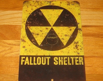 Fallout Shelter Nuclear Retro Vintage Look Rusted Reproduction Metal Sign-Mancave Bar Grill Custom