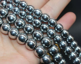 "15"" one strand,Silver Hematite smooth round beads,6mm 8mm 10mm 12mm  Hematite Beads"