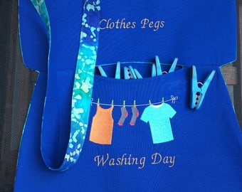 Embroidered cotton peg bag, lined cotton peg bag, handmade peg bag quality fabric, clothes pin bag, cross body bag, shoulder bag, neck bag.