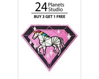 Unicorn - Diamond Iron on Patch by 24PlanetsStudio