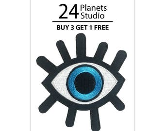 Blue Lucky Eye Iron on Patch by 24PlanetsStudio