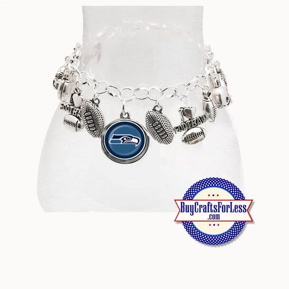 SEATTLE Football CHARM Bracelet, Silver Plated  **FREE U.S. SHiPPiNG**