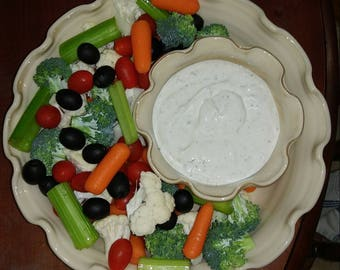 Chip and Dip set. Veggie Tray. Fruit Tray. Great for entertaining. Beautiful handmade pottery. Your guest will love it. Brown and white.
