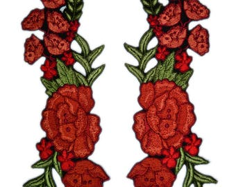 Iron On Flower Patch, 2 PCS. Mirror Floral Patches , Red Flower Applique ,Iron on Applique Patches, Various sizes and colors
