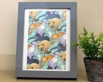 Tiling Cats A5 Art Print