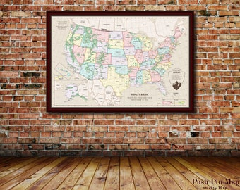 Large USA Map Travel Poster USA Travel Poster USA Map With - Us map framed