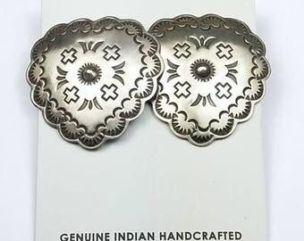 Native American Navajo handmade Sterling Silver post earrings