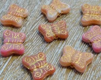 Czech Glass Butterfly Beads Pink Mix, Pink Butterfly Beads, Czech Glass Butterflies, 14mm Butterfly Beads, Uk Czech Beads