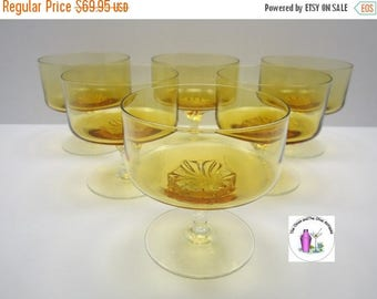 ON SALE NOW Hand Blown Amber Crystal Hand Twisted Clear Stem Serving Set