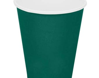 50 Ct Dark Green Poly Paper Cups 9oz Hot/Cold, Party Supplies, Wedding Supplies, Party, Wedding, Paper Cups, Beverage Cups, Cups, Supplies
