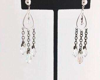 Clear crystal drops earrings, crystal chandelier earrings, silver and crystal chandelier earrings