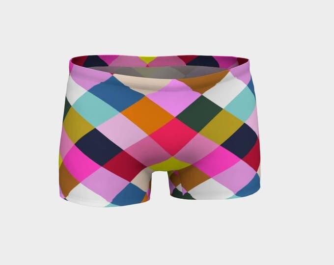 Harlequin Geometric Yoga Shorts, Boy Shorts, Multicolored Stripes, Women's Shorts, Yoga Shorts, Swim Shorts, Athletic Shorts, Running Shorts