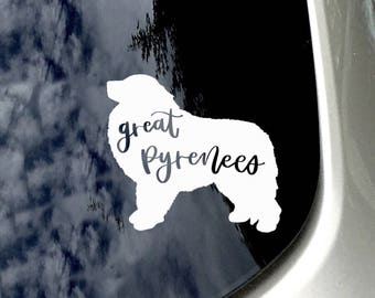 Great Pyrenees Car Decal/ Great Pyrenees Car Sticker/ Car Accessory/ Great Pyrenees Mom/ Great Pyrenees Sticker/ Dog Lover Sticker/ Gift for
