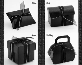 Black Favour Box, Black Wedding Favor, Black Wedding Theme, Goth Wedding, Halloween Theme, Black gift box, Black candy, box, Wedding Favors