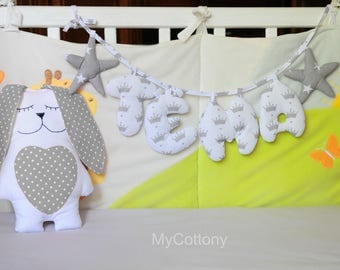 Personalized baby name, personalized baby banner, personalized banner, nursery decoration, baby name garland, felt, personalized garland