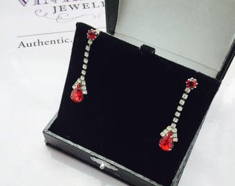 1960's Red and Clear Rhinestone Drop Earrings