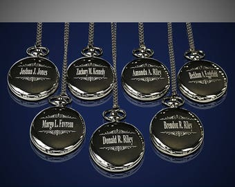 8 Personalized Pocket Watches - 8 Groomsman engraved gifts - Gifts for him - Gifts for the Groom - Man of Honor gift - Personalize gifts
