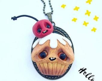 Cherry cupcake necklace, handmade jewelry, kawaii, charms, fimo jewelry, food jewelry, polymer clay, miniature food, creature, halloween