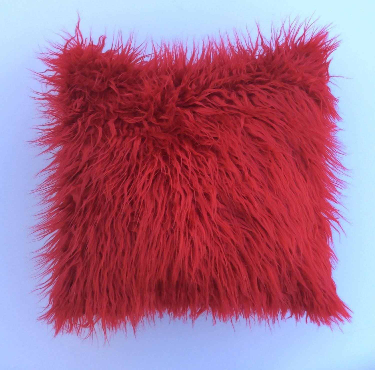 Red Faux Fur Pillow Throw cover Toss Pillow Decorative